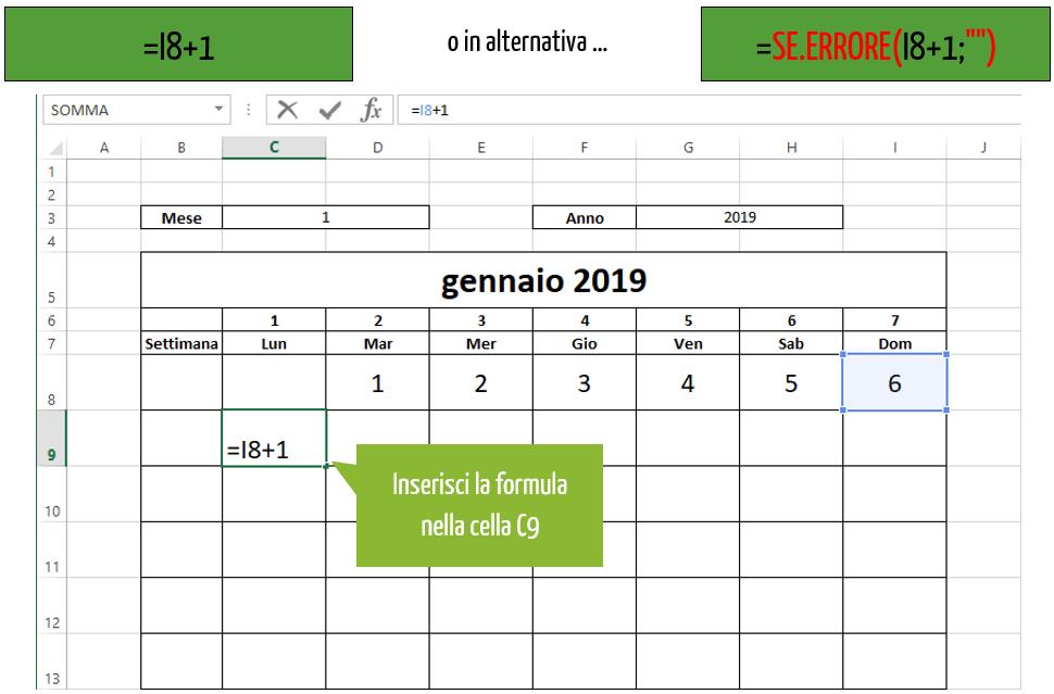 creare calendario in excel