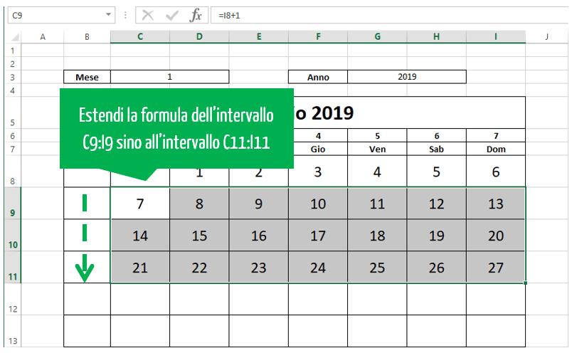 calendari in excel