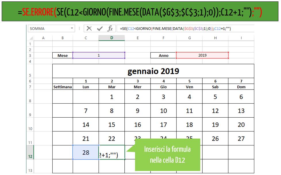 calendario annuale excel
