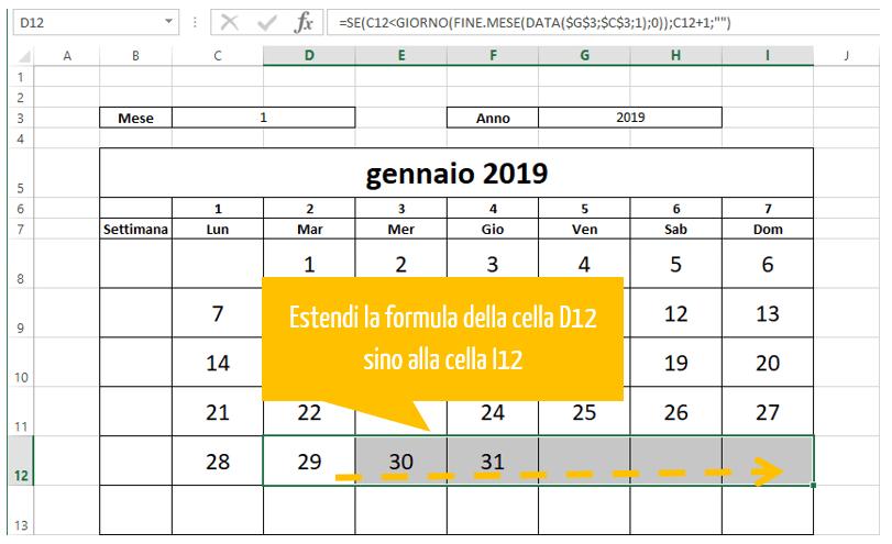 calendari excel | estendere la formula