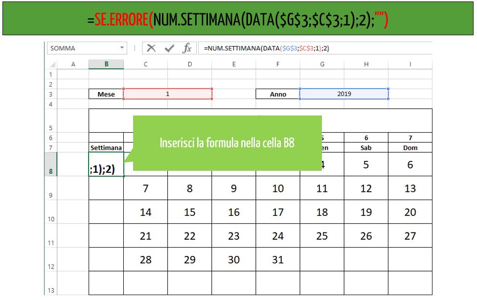calendario excel | funzione se errore