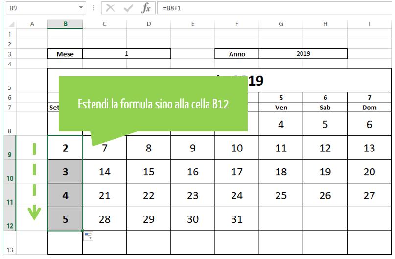 calendario perpetuo excel | estendere la formula
