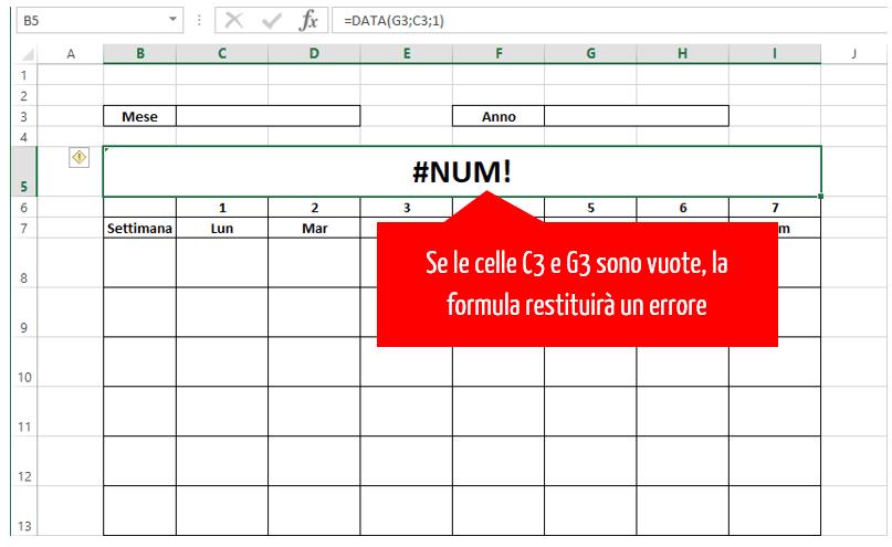 creare un calendario con excel | errore formula excel