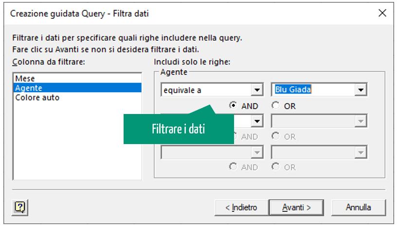 creazione guidata query - filtra dati