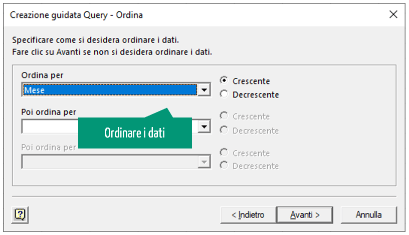 creazione guidata query - ordina