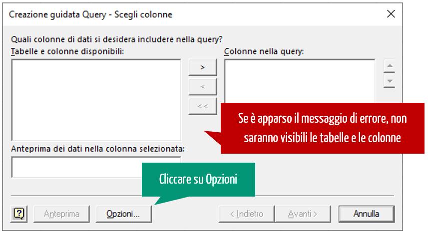 creazione guidata Excel Microsoft Query