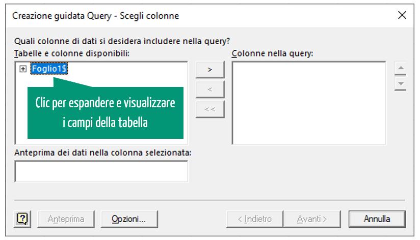 creazione guidata query - scegli colonne