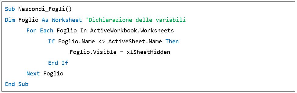 come usare il ciclo For Each - macro Excel