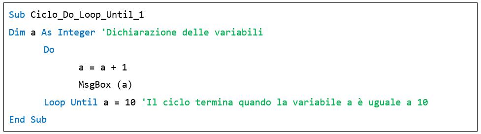 Il ciclo Do Loop Until - excel macro vba