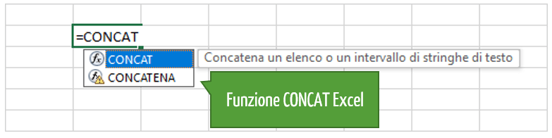 Excel concatenare stringhe | funzione concat excel