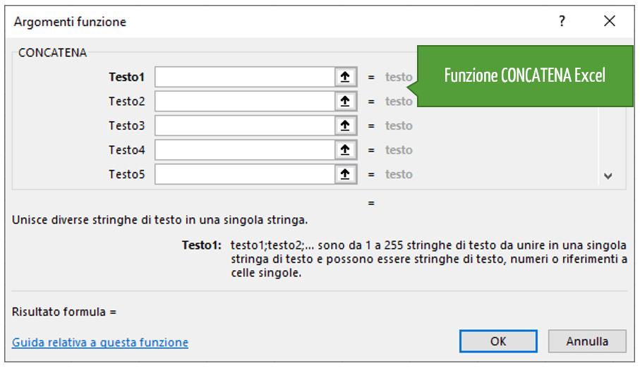 Funzione CONCATENA Excel - concatenazione di stringhe excel