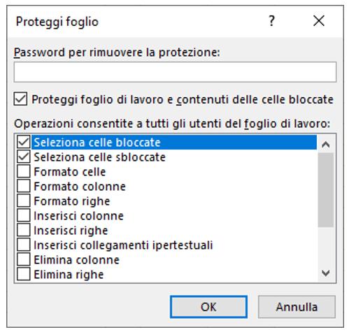 Finestra di dialogo Proteggi fogli Excel | Bloccare celle Excel