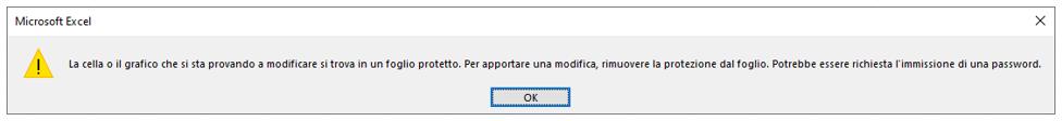 messaggio blocco celle Excel