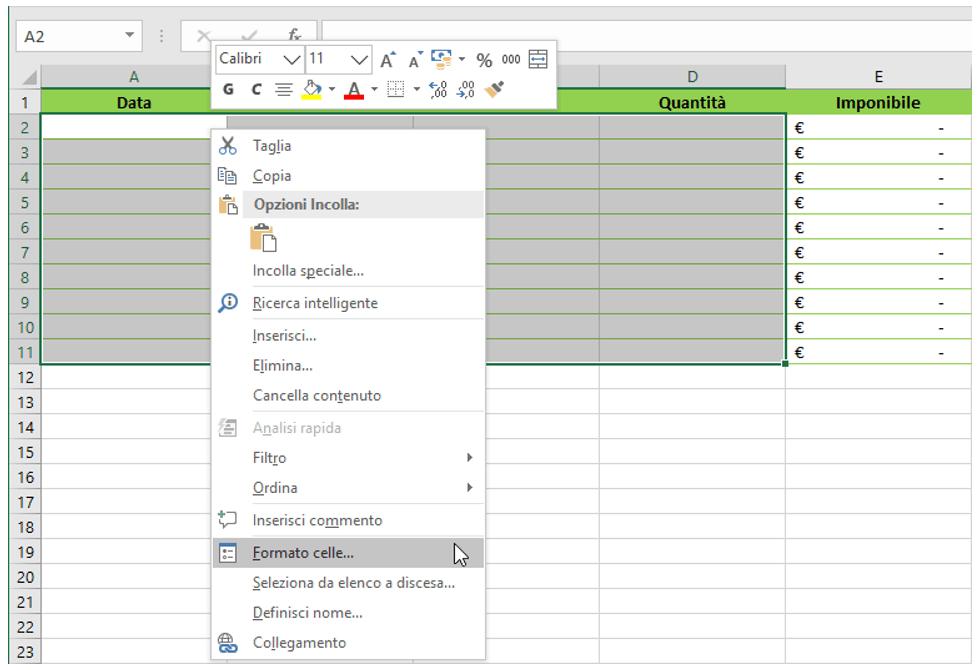 Bloccare celle Excel