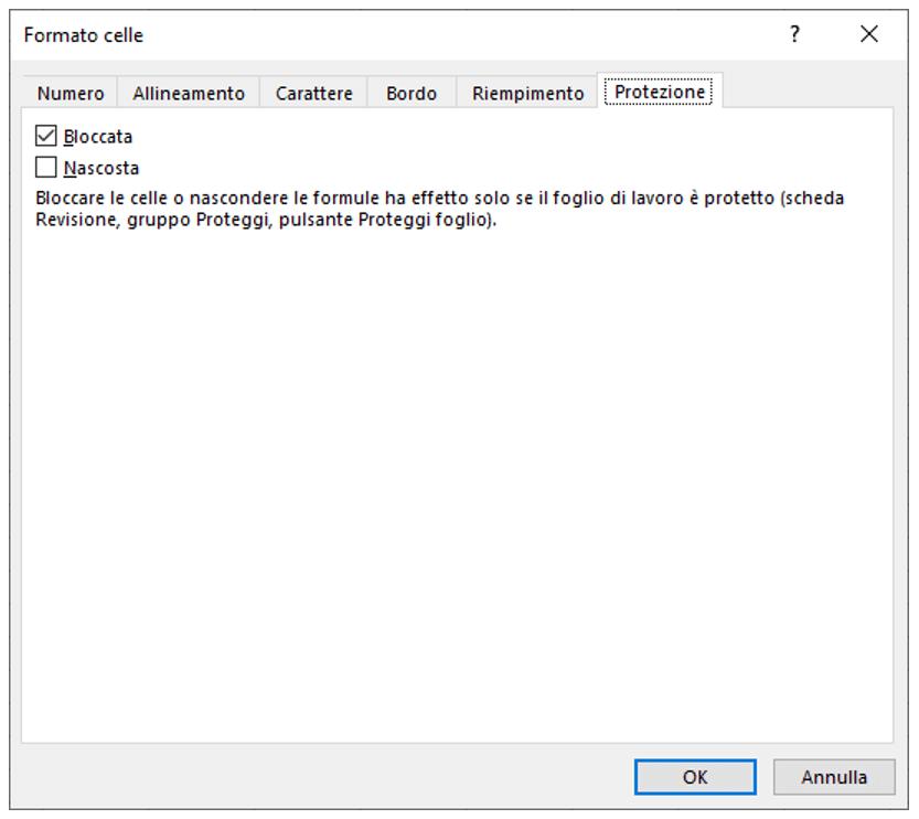 finestra di dialogo Formato celle | Bloccare celle Excel e nascondere formule Excel