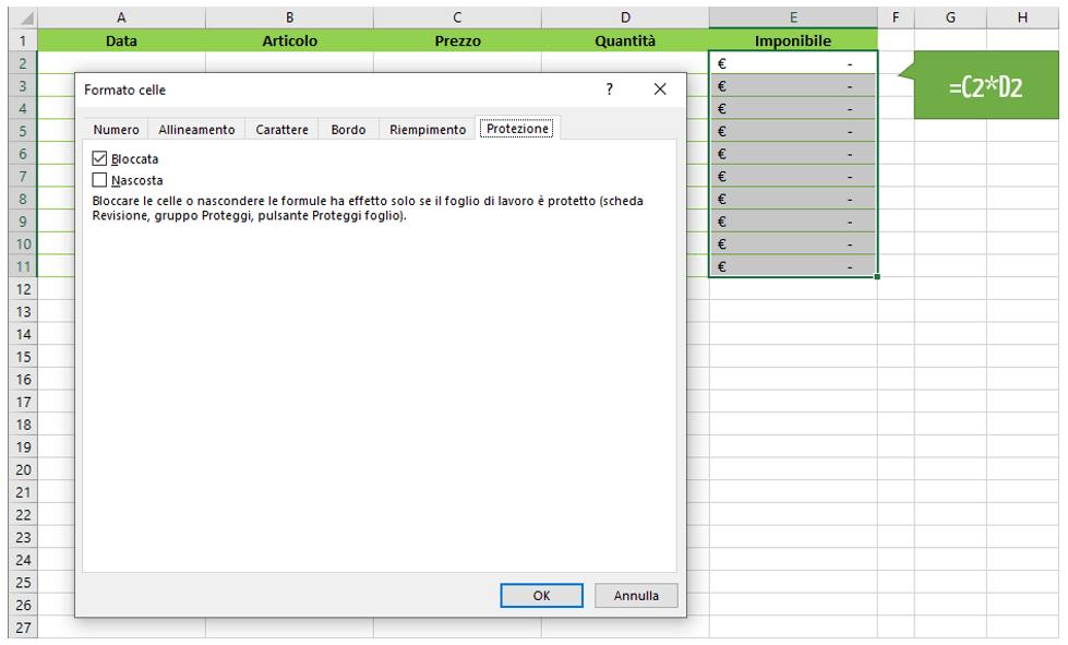 Bloccare celle Excel | come bloccare celle specifiche