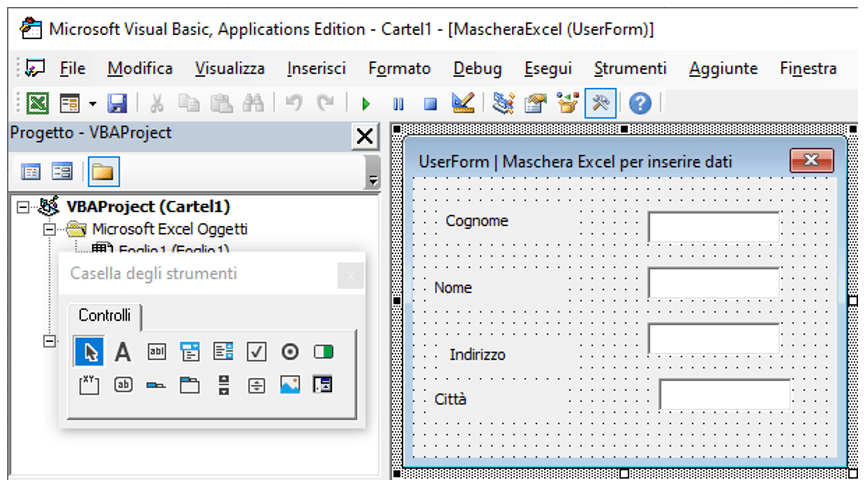 Userform esempi excel | Inserire le etichette nelle maschere Excel