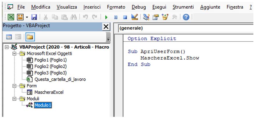 Creare un pulsante per aprire la UserForm
