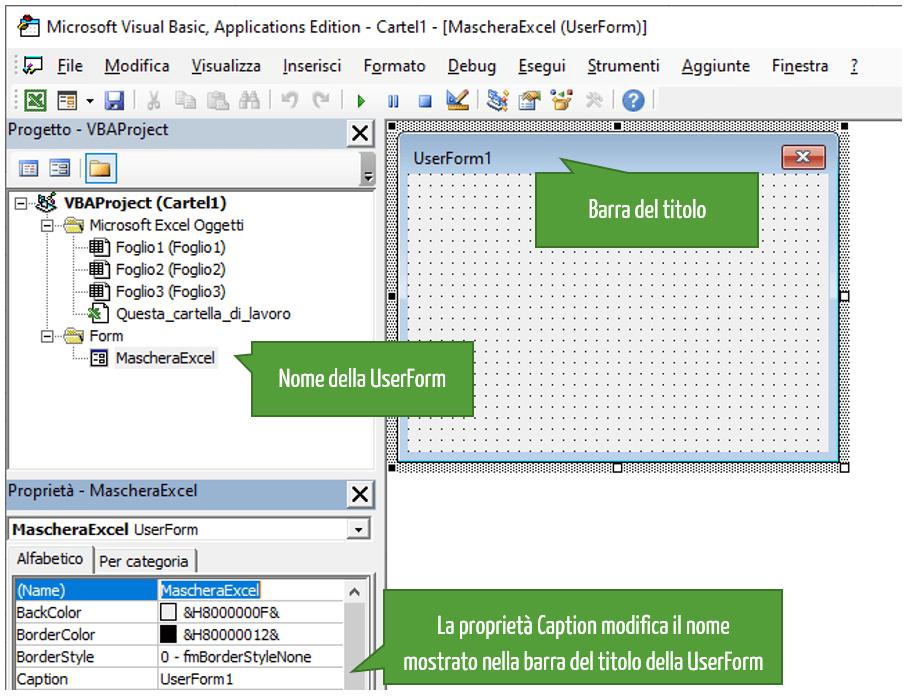 Maschere Excel | inserire pulsanti nella UserForm