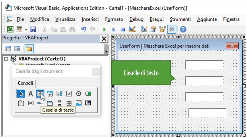 Inserire le caselle di testo nelle maschere Excel
