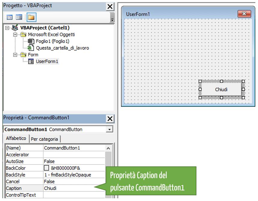 UserForm Excel | Modifica la proprietà Caption del pulsante CommandButton1