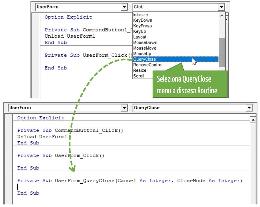 """Inserire il Codice VBA per impedire di chiudere la UserForm Excel con il pulsante """"X"""""""