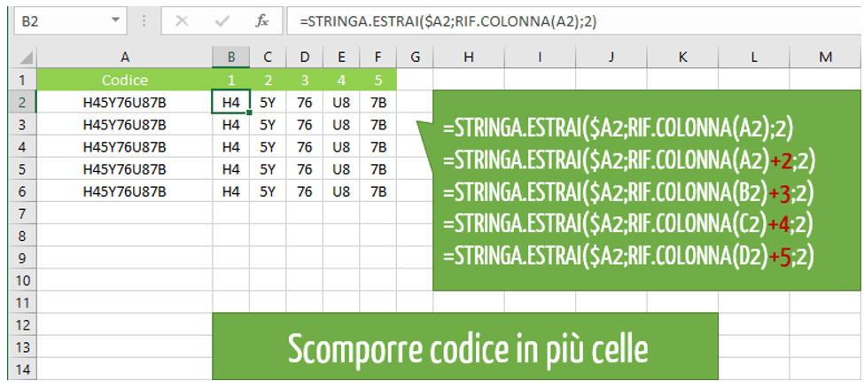 Come scomporre codice in più celle con la funzione STRINGA ESTRAI Excel