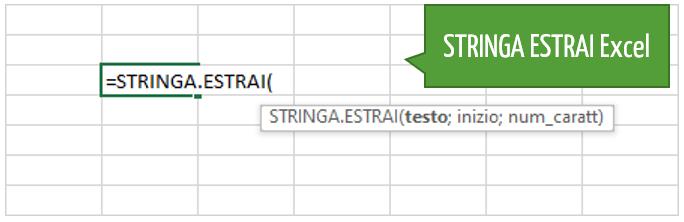 STRINGA ESTRAI Excel | la sintassi della funzione
