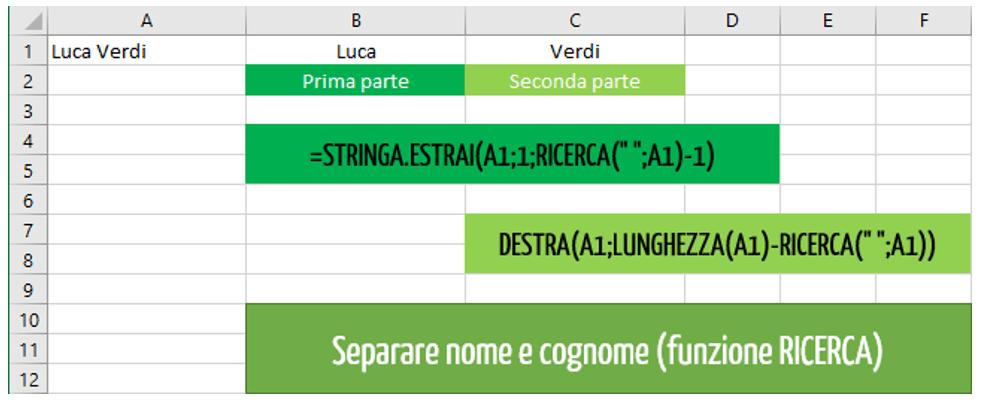 Come estrarre nome e cognome con STRINGA ESTRAI Excel | funzioni nidificate