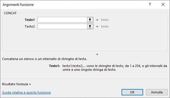 Funzioni Excel | Funzione CONCAT per unire il testo