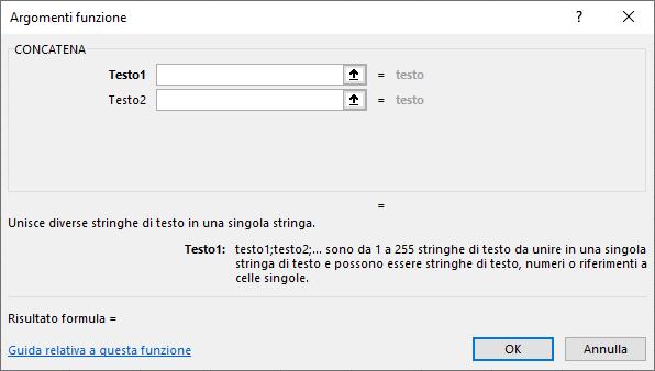 Funzioni con Excel | Funzione CONCATENA per unire il testo