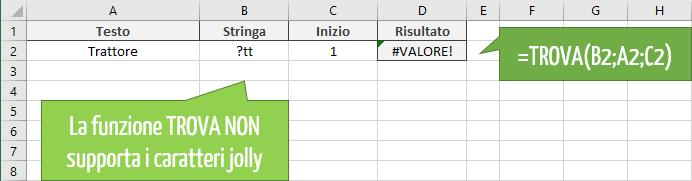 TROVA Excel NON supporta i caratteri jolly
