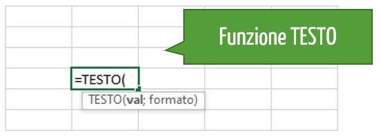 Excel funzione TESTO | convertire numero in testo