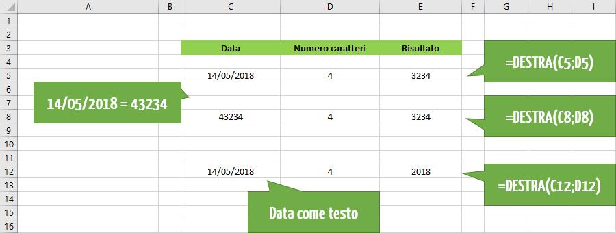 Utilizzare la funzione Excel DESTRA per estrarre le date