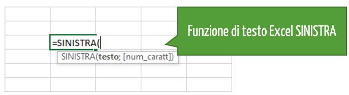 funzione di testo Excel SINISTRA
