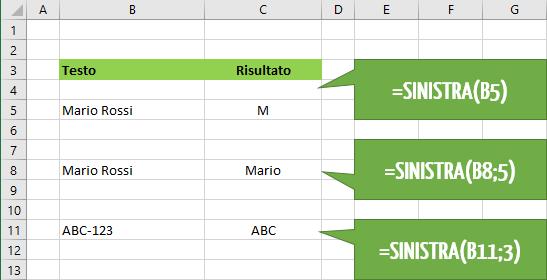 Come utilizzare la funzione Excel SINISTRA | destra sinistra testo
