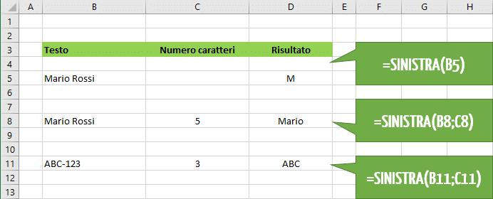 Come utilizzare la funzione Excel SINISTRA | destra e sinistra testo