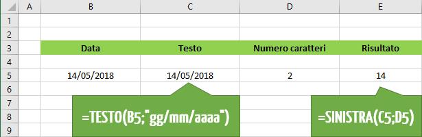 Utilizzare la funzione Excel SINISTRA per estrarre le date