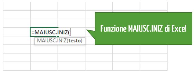 La funzione MAIUSC.INIZ Excel: prima lettera in maiuscolo
