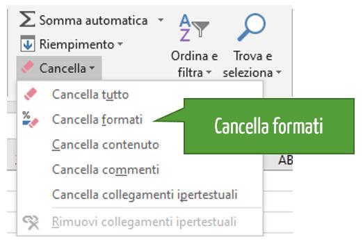 Cancella la formattazione Excel