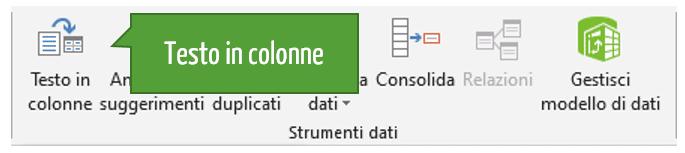 Suddividere il contenuto di una cella di testo in colonne distinte in Excel