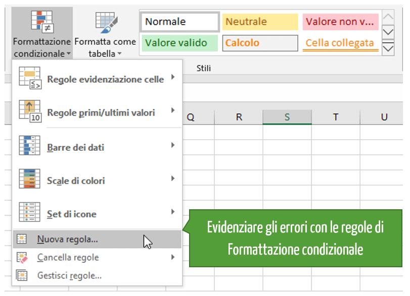 Evidenziare gli errori con le regole di Formattazione condizionale Excel