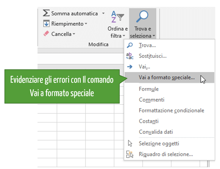Evidenziare gli errori con il comando Vai a formato speciale Excel