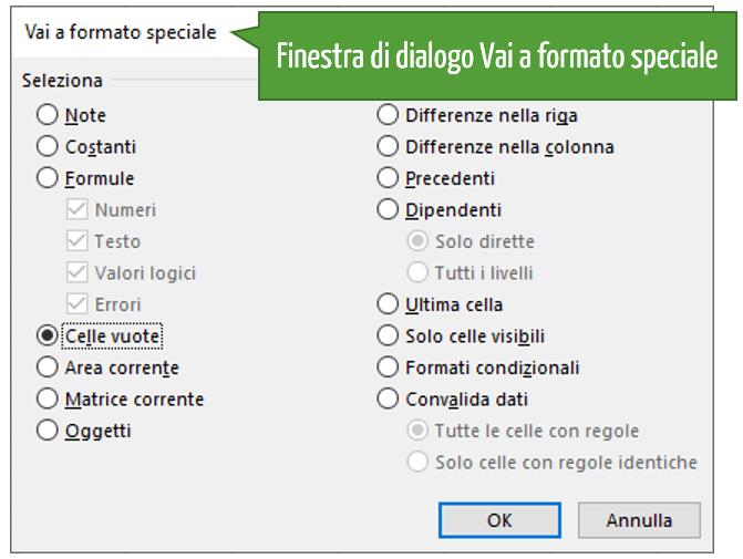 Finestra di dialogo Vai a formato speciale Excel