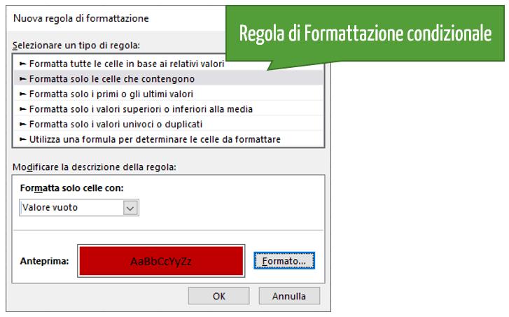 Regole di Formattazione condizionale Excel