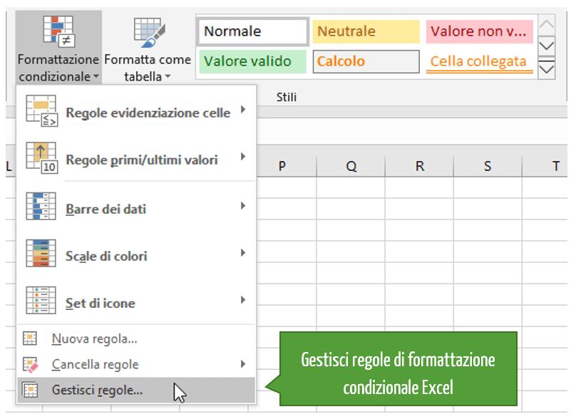 Gestione regole di formattazione condizionale | Regole Excel | Formattazione condizionata | Formato celle