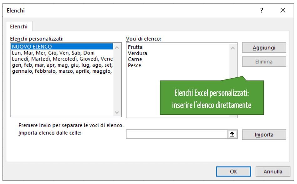 Elenchi Excel personalizzati: inserire l'elenco direttamente