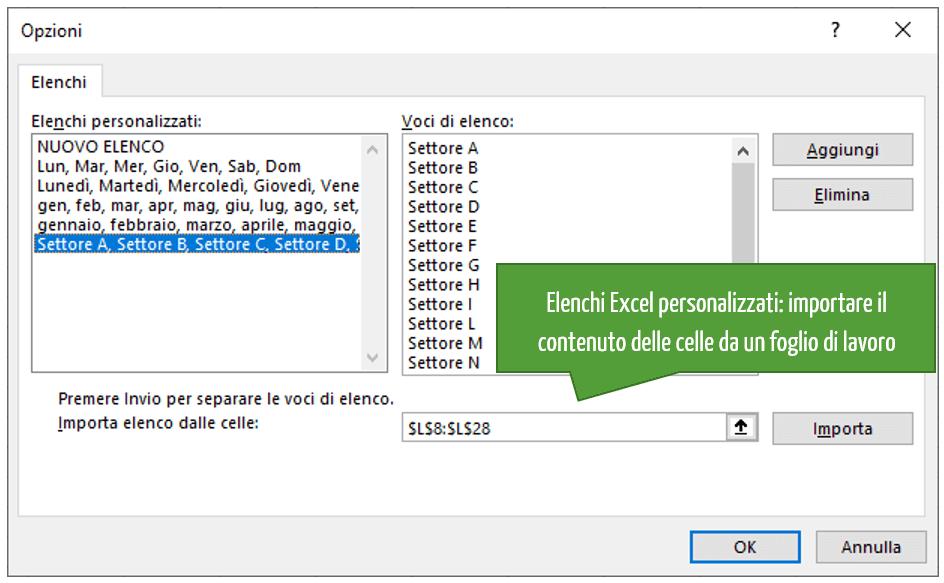 Elenchi Excel personalizzati: importare il contenuto delle celle da un foglio di lavoro