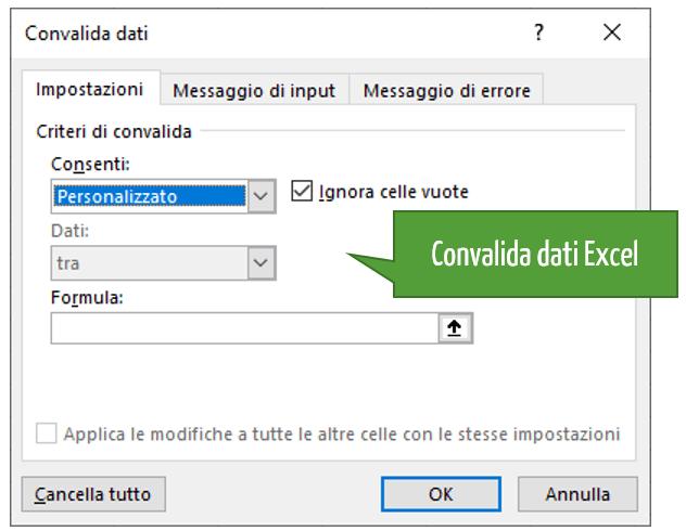 Convalida dati Personalizzata