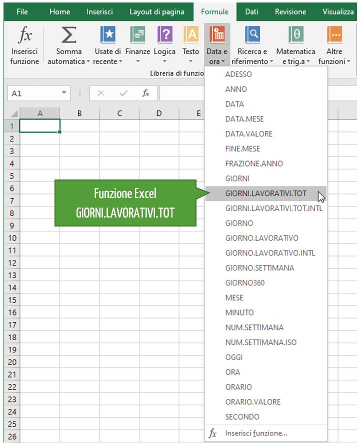 Calcolo giorni lavorativi | Funzione Excel GIORNI.LAVORATIVI.TOT per il calcolo giorni tra due date